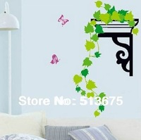 Free Shipping 1pc 45*65cm Green leaves bathroom bedroom living children's room background cartoon stickers Removable