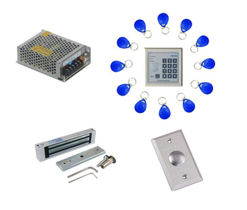 Free shipping ,access control kit ,one keypad EM access control +power+180kg magnetic lock +exit button + 10 em cards,sn:em-006