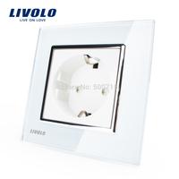 Livolo EU Standard Power Socket, White Crystal Glass Panel, AC 110~250V 16A Wall Power Socket, VL-C7C1EU-11, Free Shipping