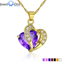 Multi-Color Heart Jewelry For Women 18K Gold Plated  CZ  Pendant Necklace With Chain Necklaces & Pendants (JewelOra PE000047)