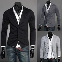 KS001 Fashion Style Men's V-neck Single Breasted Two Buttons Knitwear Blazer 4 Sizes 3 Colors Free Shipping