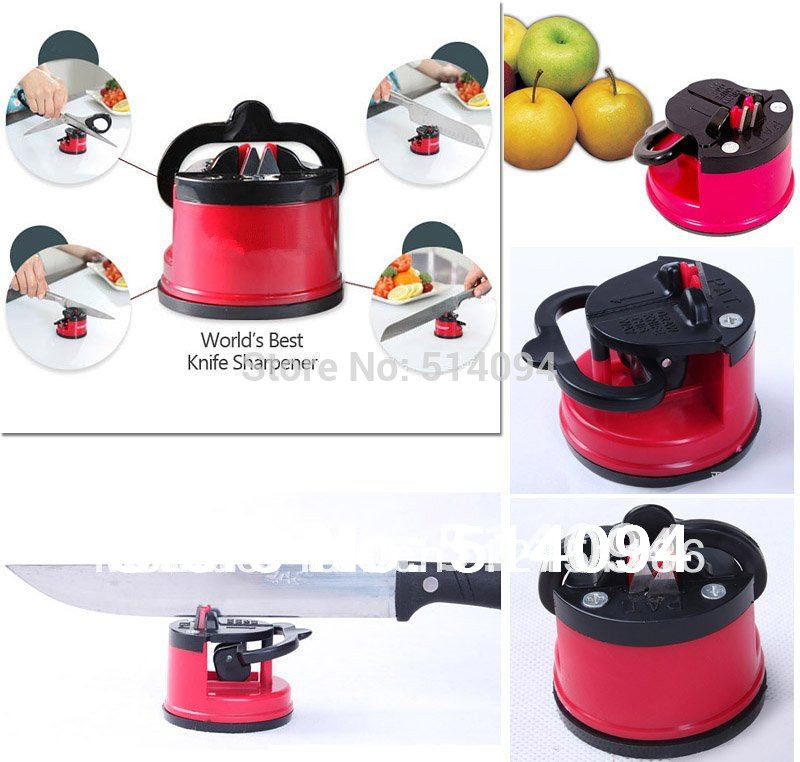 3pcs High Quality Creative kitchen practical tungsten steel Knife Sharpener With Suction Pad FREE SHIPING(China (Mainland))