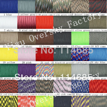 Paracord 550 Parachute Rope 7 Core Strand 100FT For Climbing Camping Buckles Bracelet 84 Colors For Pick