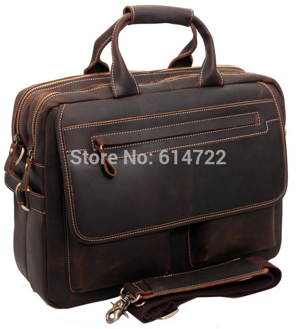 """Free shipping Men's Bull Leather Big Briefcase Messenger Tote Bag Busine laptop 15""""Bag handbag men leather shoulder bag A2951(China (Mainland))"""