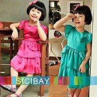 Girls Summer Formal Dress Solid Color Silks & Satins Tiered Dress,Kids Summer Clothing,Free Shipping  K0134