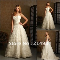 In-Stock Free Shipping Cheap Price White/Ivory Sweetheart A-line Luxury Bridal Wedding Dress/Gowns 2013 New Fashion