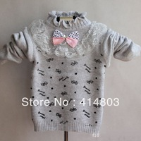 Promotion! 3pcs/ 3Colors Fashion Baby Girl Fall Bow Lace Sweater/ Children Autumn/Winter Knitted Top Kids Sweaters