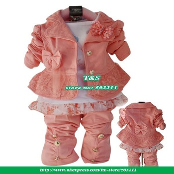2013 Retail!baby clothing set toddler girls suit spring And autumn new year's clothes for children 3 pcs coat+t-shirt+pant