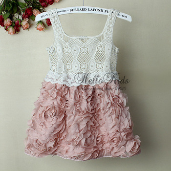 2014 Fashion Baby Girl Dresses Rose Children Pink Lace Flower Dress Princess Kids Desses 5PCS/LOTS GD21020-02^^HK