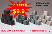 2013 brand new Whisky stones 9pcs set in velvet bag, 2sets/lot, whiskey stone rock 4 colors assorted freely+free shipping!