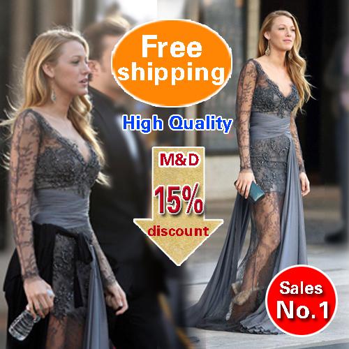 Versandkostenfrei gossip girl Blake Lively zuhair murad langen Ärmeln spitze grau abendkleider abendkleid 2014 kleid( mde908)