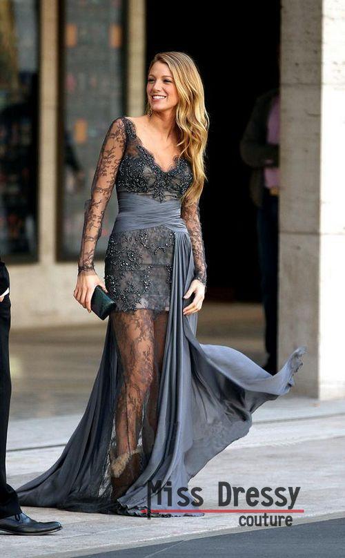 Blake Lively zuhair murad grey lace dress