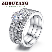 ZYR060 3 Round 18K Platinum Plated Ring Jewelry Made with Genuine SWA ELEMENTS Crystals From Austria 4 Multi Sizes Wholesale