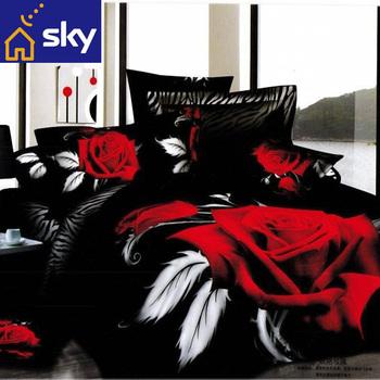 4pcs bedding set 100% cotton Fabric 3d big red rose printed bedsheet Duvet/Quilt/comforter cover pillowcase bed sets queen king