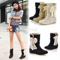 2013 Women's Fashion Boots Bobbin Lace Flat Boots Shoes 3Colors sv18 9302