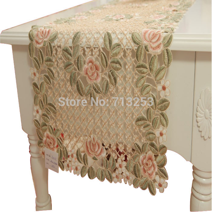 No.135-4B Embroidery table linen country living rose table runner 100% by handmade for hotel home dining room(40*180cm)(China (Mainland))