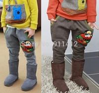 2014 Boy girl Pants warm thicken fleece hamburger Trousers kid clothing children clothes wear
