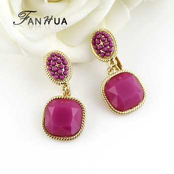 2014 New coming fashion wholesale acrylic colorful clip earrings