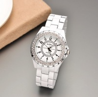 Wholesale New 2013 Men/Women Luxury Brand Dress Quartz Watch With Full Steel Strap&Round Dial Rhinestone Decoration Wrist Watch