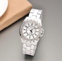 Wholesale New 2013 Men/Women Luxury Brand Dress Quartz Watch With Full Steel Strap&Round Dial Rhinestone Decoration Wrist Watch
