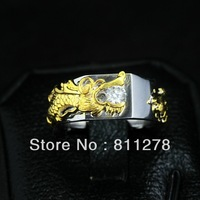 DHL 3-7 day new  engagement fashion wedding 24k gold woman palted Moissanite sterling silver 925 men Wedding  rings  Dragon ring