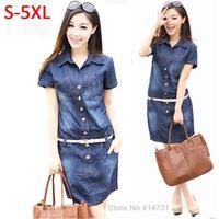 S XXXXXL Women Casual Denim Dress Plus Size Vintage Jeans Dresses Short Sleeve 2015 Fashion Female/Ladies Summer Spring Clothing