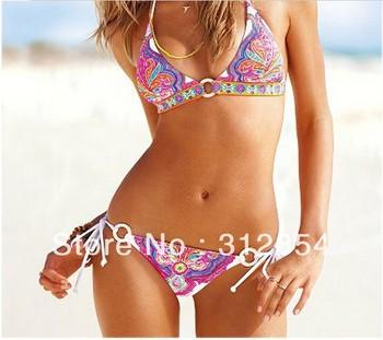 Sale Vintage Female swimsuit sexy Floral Print stripes bikini hot swimwear ladies discount Halter monokini bathing suit with pad