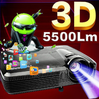 High Contrast 5500Lumens Android DLP HDMI Video Home Theater Daylight Holographic Night Street Education Rear 1080P HD Projector