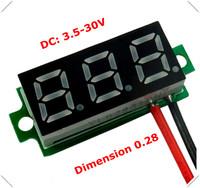 "New 0.28"" Mini Digital Voltmeter dc 3.50-30V 2 wires Vehicles Motor Voltage Panel Meter led Display Color:Red [ 10 pieces / lot]"
