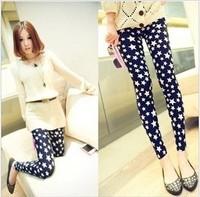 Free size Mid waist spandex leggings woman fashion star design nine minutes summer pants causal print leggings P015