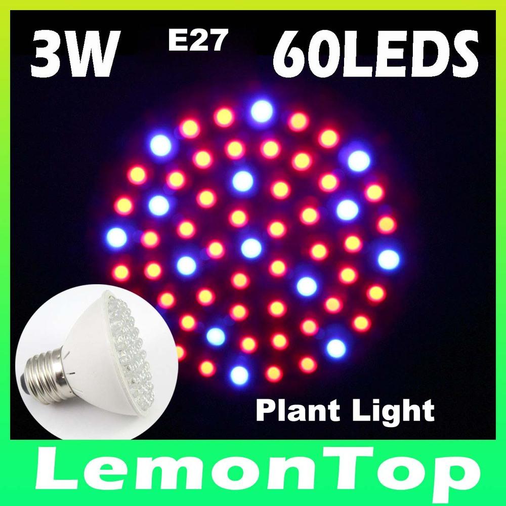 (3pcs/lot)3W E27 60leds 220V Hydroponic Plant Grow Light LED Lamp Lighting Aquarium for Greenhouse Tent full Spectrum Lights(China (Mainland))