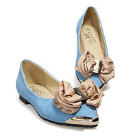 2013 Genuine Leather Plus Size 43 Princess Bow Metal Toe Flat Shoes High Quality Women Pointed Toe Bowtie Ballet Flat Shoes S140
