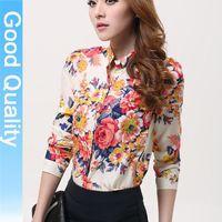 2014 new spring summer 3 color block gold buckle small stand collar shirt chiffon shirt female long-sleeve shirt blouses woman