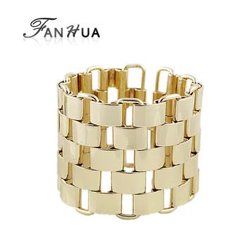 Gold Color Alloy Square Link Chain Hollow Out Men Bracelets Bangles New 2014 Wholesale Bijoux  for Women
