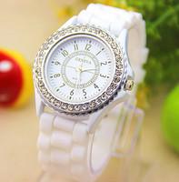 14 colors Fashion Silicone GENEVA Watch Hot Selling Women Dress Watch Women Rhinestone Watches 1piece BW-SB-02