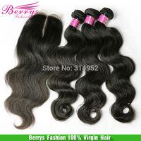 "7A Peruvian virgin hair body wave with 1bundle lace closure unprcessed Virgin Hair Weft  10""-34""  Cheap human hair"