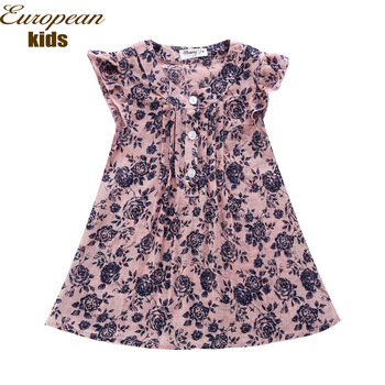 Summer Hotsale brand girls' dress flower printing children dress for 2-8T designer kids wear