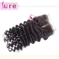 Brazilian virgin human hair deep wave curly closures,cheap swiss top middle partting lace closure buy hair online free shipping