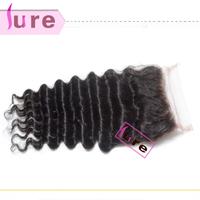 Virgin Brazilian lace closure , bleached knots Queen deep wave  brazilian  hair free shipping