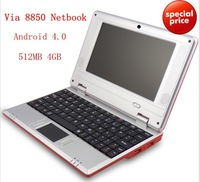 "7"" mini Laptop VIA WM8850 (faster than 8650) 3200mAh battery Webcamera Wifi Netbook Android 4.0 512MB 4GB HDMI Cheap Laptops"