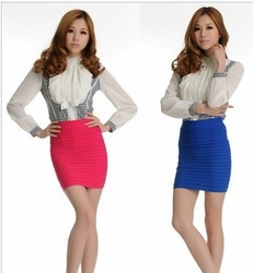 Free Shipping 1pcs Candy Colors Fashion Classic Slim Draped Women's A-line mini Skirt,Seamless Stretch Elastic Tight Hip(China (Mainland))