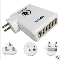 1set(1charger+4 plugs) 6 USB Wall Charger 5V 5A power adapter with EU+AU+UK+US plug for iphone for Samsung free shipping