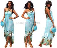 New Arrive Fashion Long Summer Beach Dress  For Women High Waisted Halter Neck Floral Printed Maxi Dress