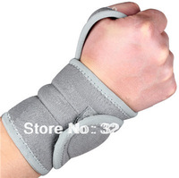 Free Shipping Magnetic Neoprene Wrist Support Adjustable Compression Palm Open Thumb Wrap Therapy Arthritis Universal Grey+2pcs