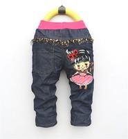 free shipping 2013 new cartoon boy's girl jeans Trousers children jeans children's pants wholesale girl pants 1lot=4pcs