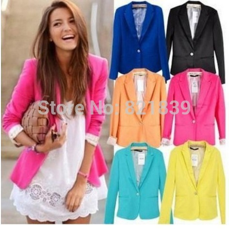blazer women jacket NEW 2014 women coat women blazer suit foldable brand jackets women clothes one button shawl cardigan coat(China (Mainland))