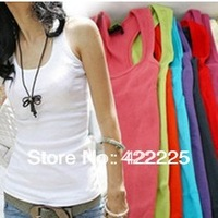 Free Shipping Summer hot-selling woven cotton rib knitting women's tank Tops long design