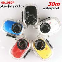 Car DVR Mini Camera Action Camera Ambarella Chip SJ1000+HD1080P+H.264+Waterproof 30M+6 kinds stents Sport Helmet camera mini DVR