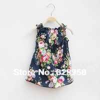 Hot sale !!New arrival 2013 France design summer fashion sleeveless girls kids blouse with beautiful floral for3-10children wear