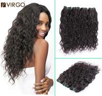 "Brazilian Virgin Hair Extension 3Pcs/4Pcs Lot  Water Wave Curly Hair 10""-30"" Brazilian Human Hair Weaves Water Wave Virgo Hair"